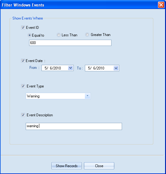 Figure 4.52: Entering required information to filter Windows events 3.