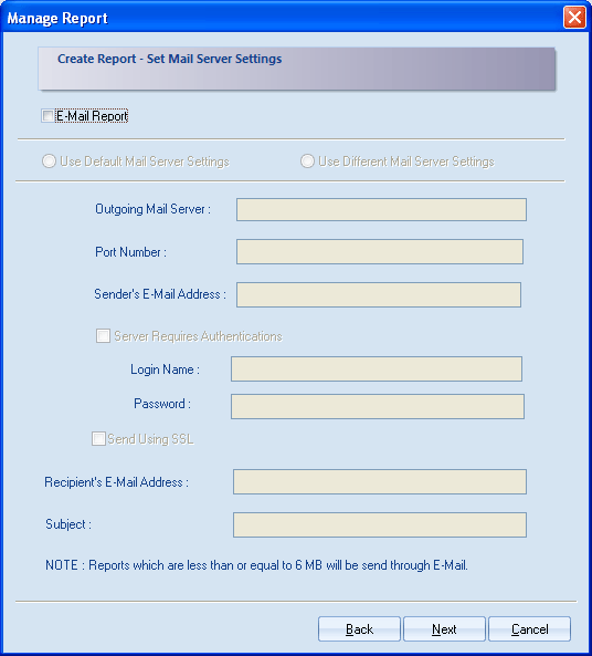 Figure 4.59: Configuring User authentication for creating email report 10. There are two options available for configuring email server settings i.e. Use Default Mail Server Settings and Use Different Mail Server Settings.
