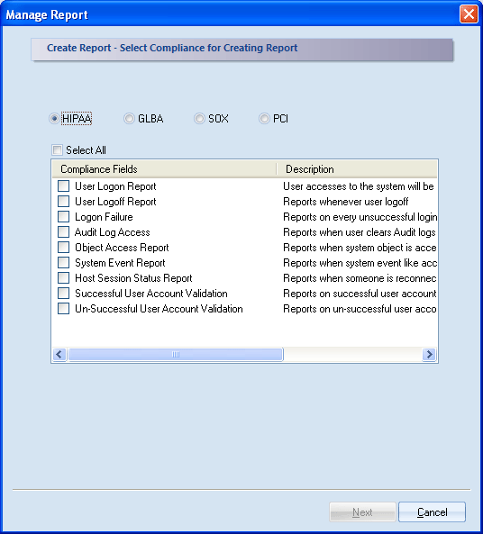2. Select Create New Report from left panel. 3. A dialog box will appear. Select any of the compliance (HIPPA, GLBA, SOX and PCI) and relevant compliance fields for creating the report. Click Next.