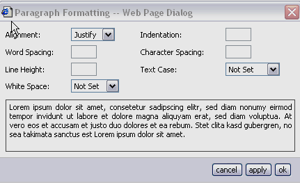 Paragraph Formatting Paragraph Formatting allows you to modify the formatting of an entire paragraph. When you select Paragraph Formatting, a window like the one shown in Figure 5 will display.