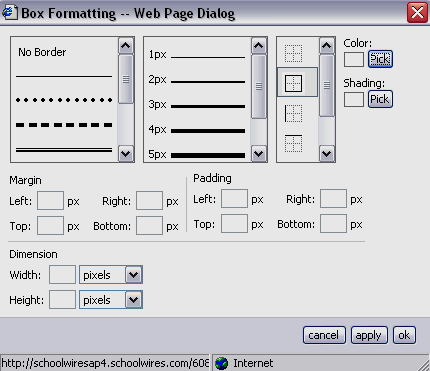 Box Formatting Box Formatting allows you to format an existing text box. When you select Box Formatting, a window like the one shown in Figure 8 will display.