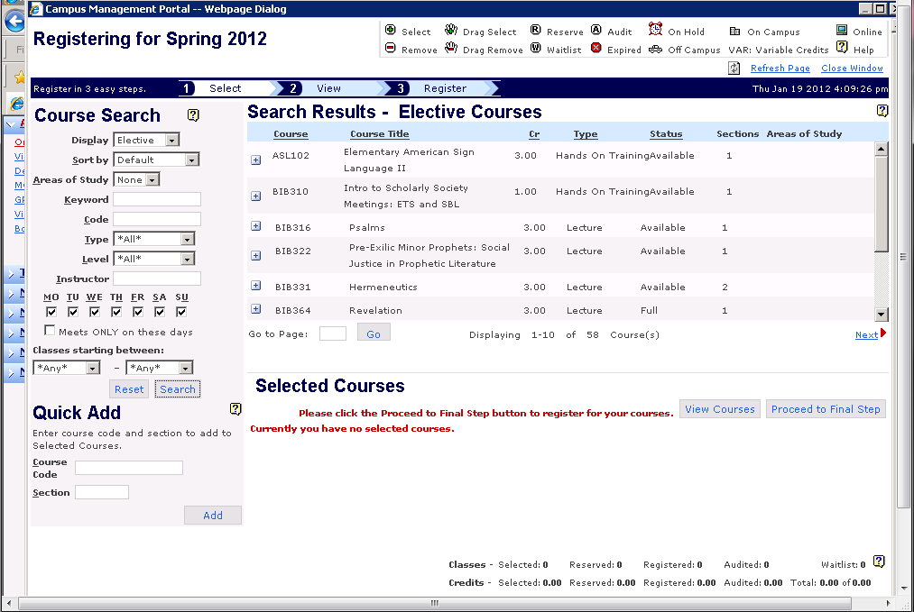 In order to see the available elective courses for the term, change the Display