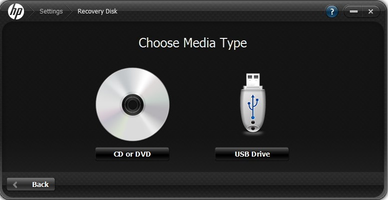 2. Select the desired media type where the Recovery Media will be created. NOTE: minutes. The.ISO file will be downloaded and then written to the media. This can take several Recovering Files 1.