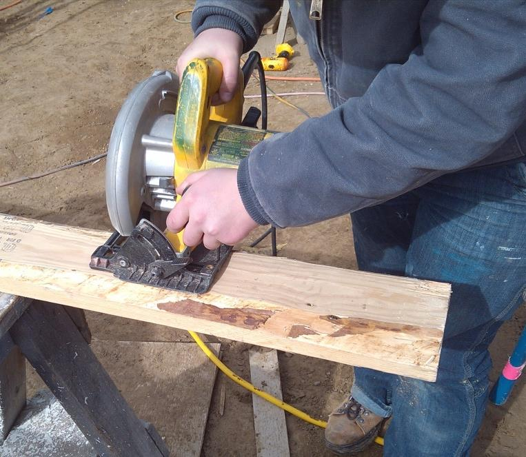 Safe Tool Use: Circular Saws Always stand to the side of a circular saw, never behind it.