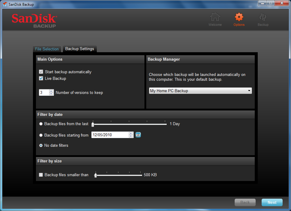 Custom Backup To customize your backup, select which types of files and documents to backup.