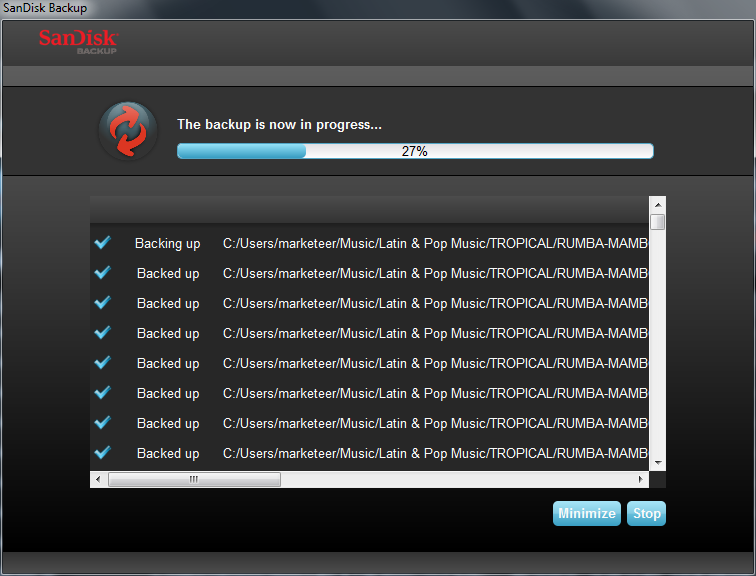 Launch Your Backup Once you have configured your backup preferences and control settings, the SanDisk Backup