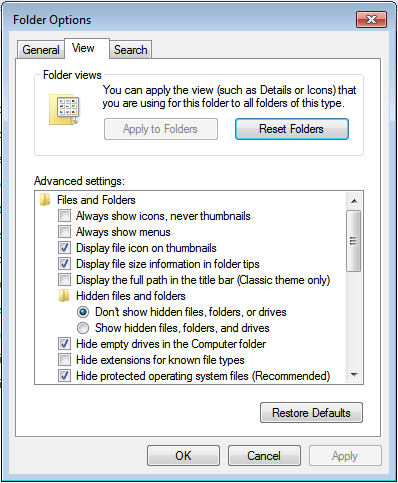 View Options Setup Windows Explorer for improved file browsing. 1. Click Start > Control panel, click View by Small icons 2. Click Folder Options 3.