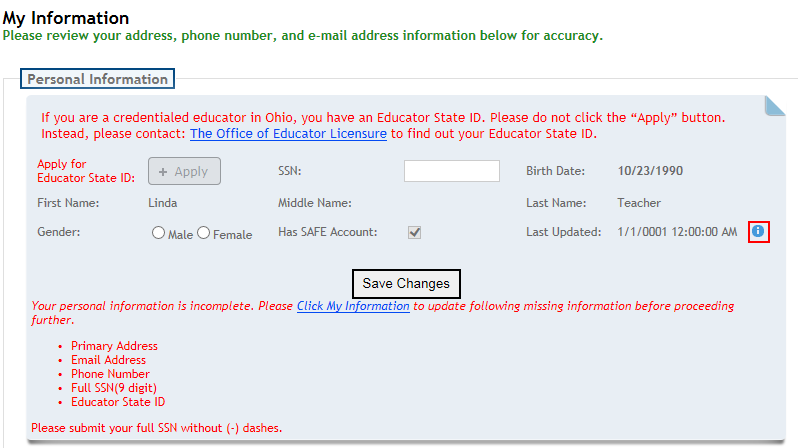 How do I request an Educator State ID online?