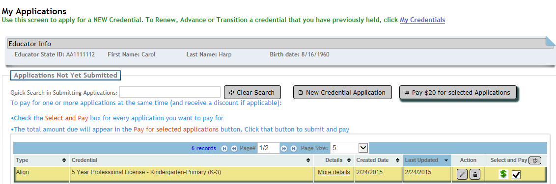 3. Click in the Credential dropdown to select the credential and Effective Year to which you are aligning. 4.