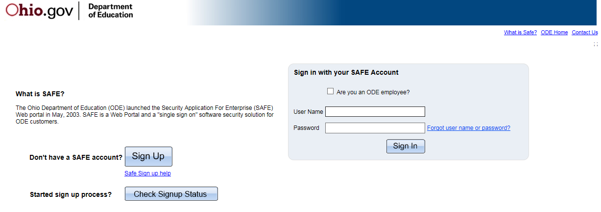 The SAFE Sign In page is displayed. Enter your User Name and Password and click Sign In.