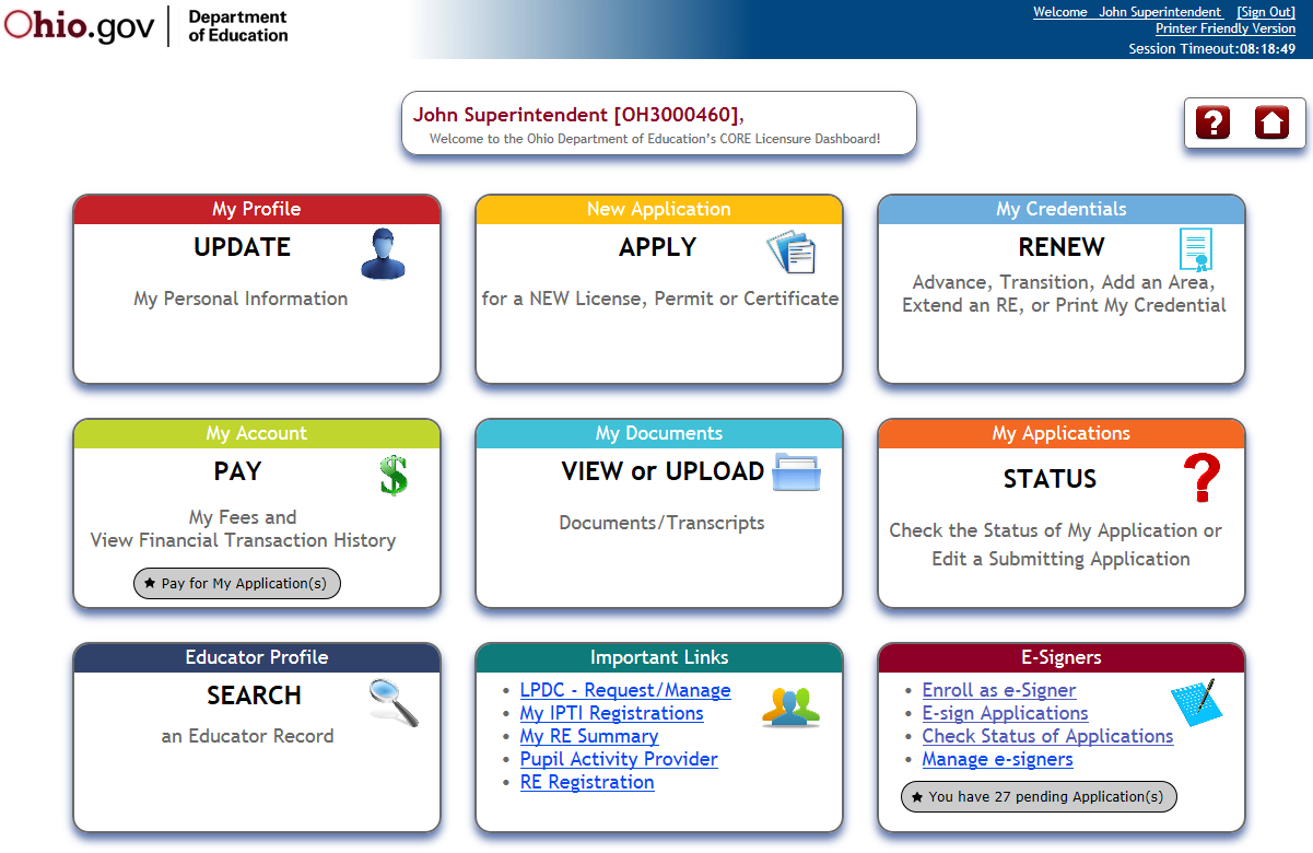 CORE Dashboard The CORE Dashboard is a new way to navigate the CORE Online Licensure and Resident Educator systems. This easyto-use page will be your home page.