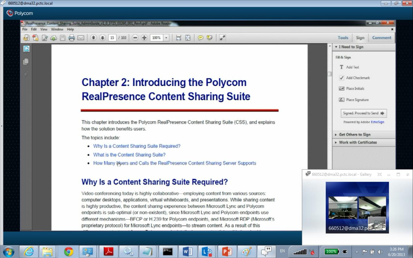 Chapter 8: Viewing and Sharing Content In the following example, a meeting participant is sharing a program (in this case, a Microsoft Word