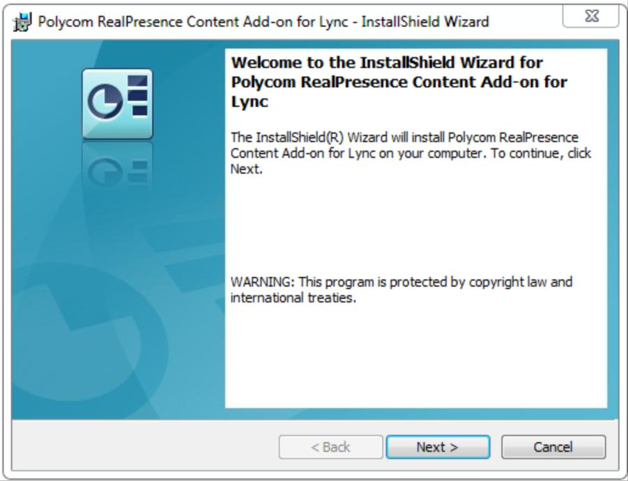 Polycom RealPresence Content Sharing Suite Administrators Guide To install by using the.exe file: 1 Exit Lync. 2 Download the RealPresence Content Add-on for Lync.exe file to your computer.