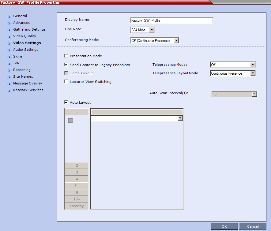 Chapter 6: Configuring Solution Components 5 From the Video Settings tab (shown