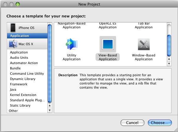 Open the Xcode and click on File > New Project. Select View-Based Application and click on Choose.. button.