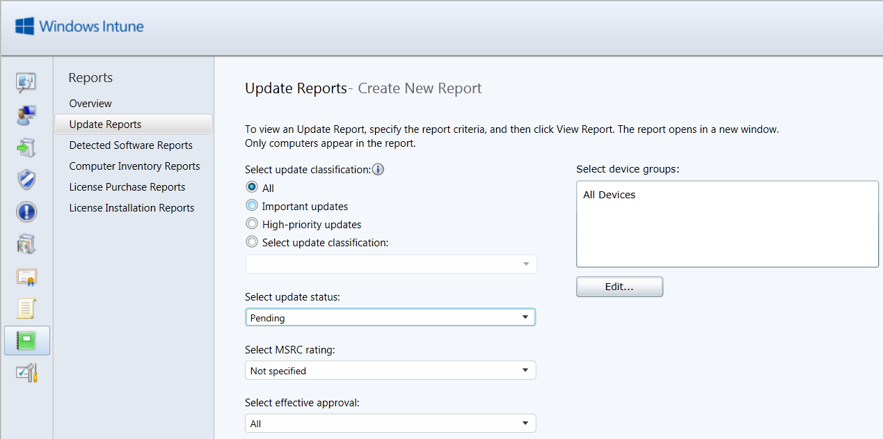 Customizing Report Templates The following steps show how to create a Windows Intune Update report to identify computers that have pending updates: 1.