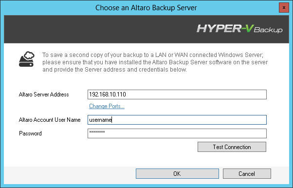 Enter the details of your Altaro Backup server and click OK For more information about configuring an Altaro Backup Server click here Once you have selected your