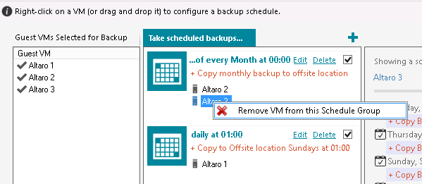 Simply drag a VM (or multiple VMs) from the left hand side panel to the right hand side panel to add it to a Schedule Group.