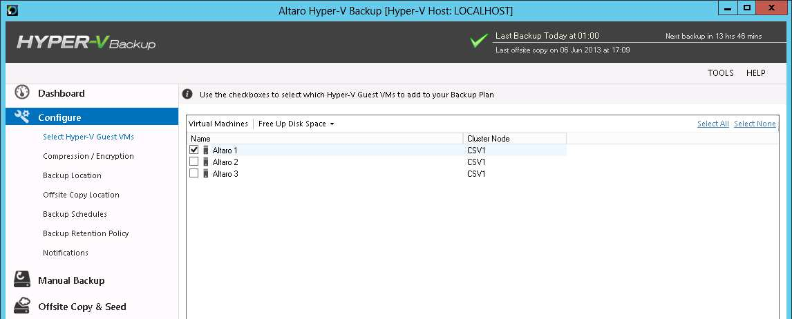 Configuration - Quick Start Installing Altaro Hyper-V Backup in a Hyper-V Cluster (CSV) Environment Instructions for setting up Altaro Hyper-V Backup within a Cluster Environment Altaro Hyper-V