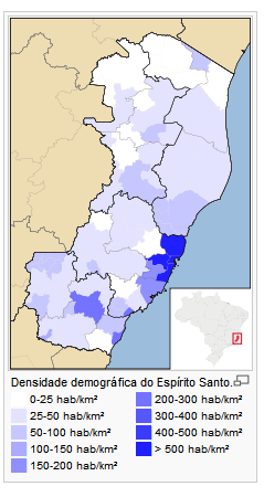 Statistics Informations Population Density of Population in the State Concentration of population in the municipalities of Vitoria, Serra, Cariacica and Vila Velha.