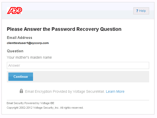 Figure 21: Password Recovery Question 2. Enter the answer you provided when you created your account and click Continue.