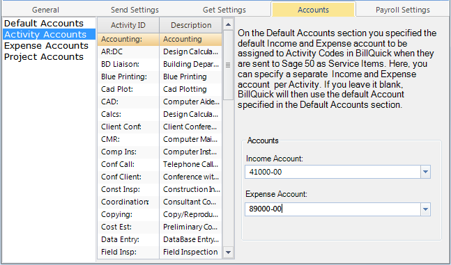 How Integration Works 4. If you want to assign separate accounts to individual activity items, select Activity Accounts option on the left.