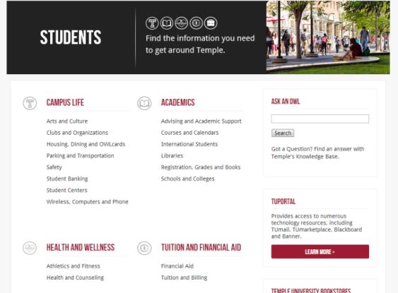 APPENDIX N QUICK GUIDE TO GETTING STARTED AT TEMPLE UNIVERSITY In order to gain access to TU Portal, where your email, account info, course Blackboard sites and much more is contained, you ll need to