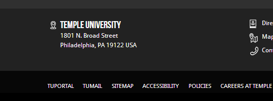 Currently, the link for TU Portal is all the way at the bottom of the Temple University homepage.