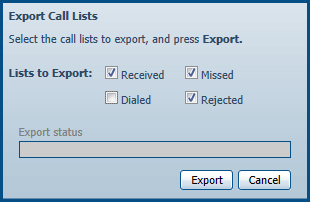 Download Call Logs Click [Messages & Calls] Click [Missed] Click [Export] Check/Uncheck the boxes next to [Received], [Missed], [Dialed], and [Rejected] so that only the Lists that you want to export
