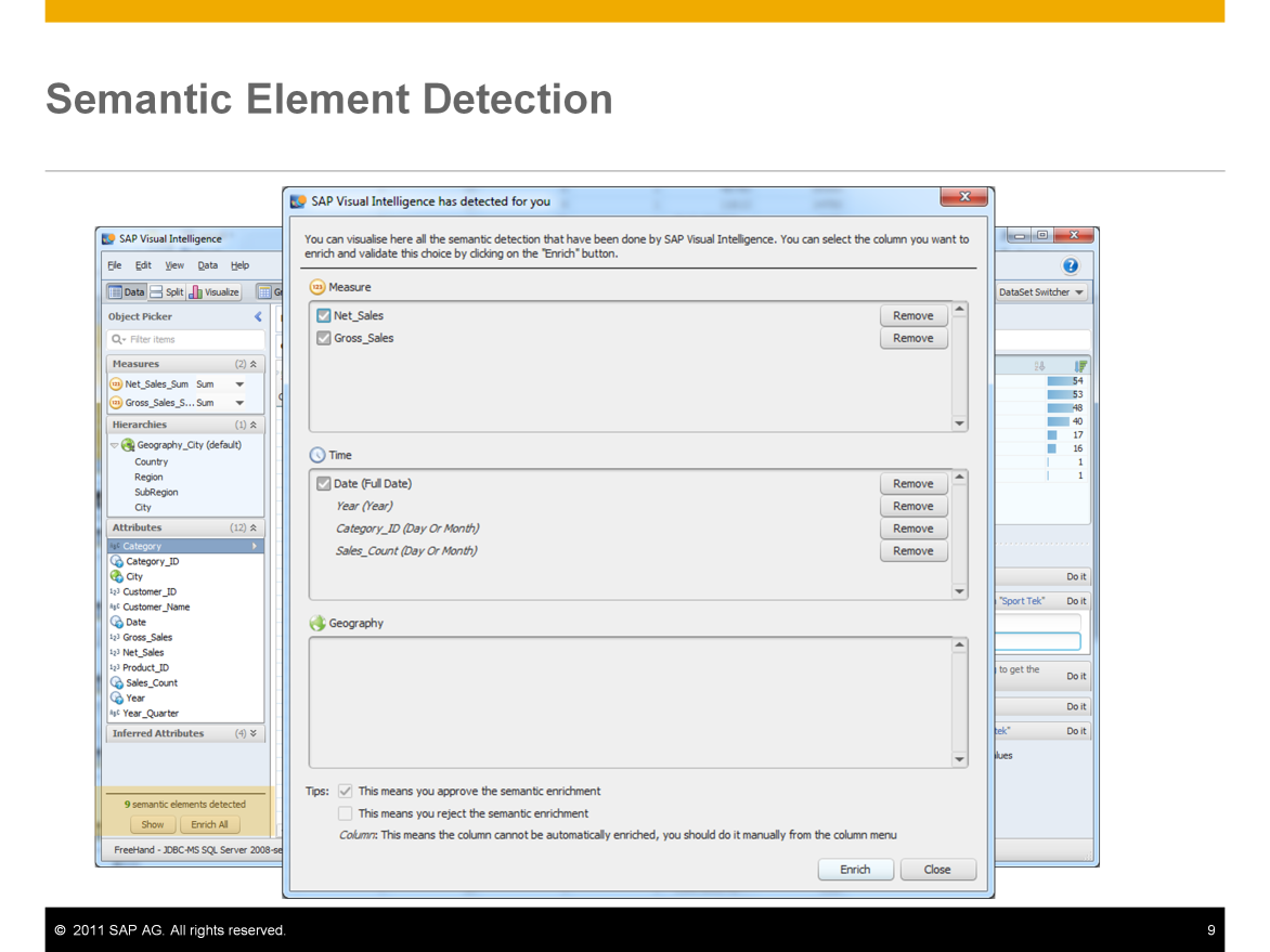 When you import and work with a data set, SAP Visual Intelligence identifies potential semantic enrichments. Semantic elements for the data set are displayed in the bottom left corner.