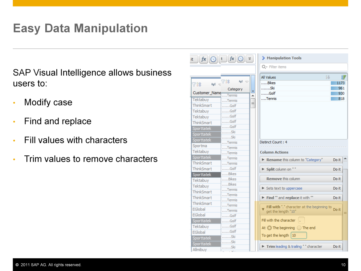 SAP Visual Intelligence allows business users to easily manipulate data with built in tools.