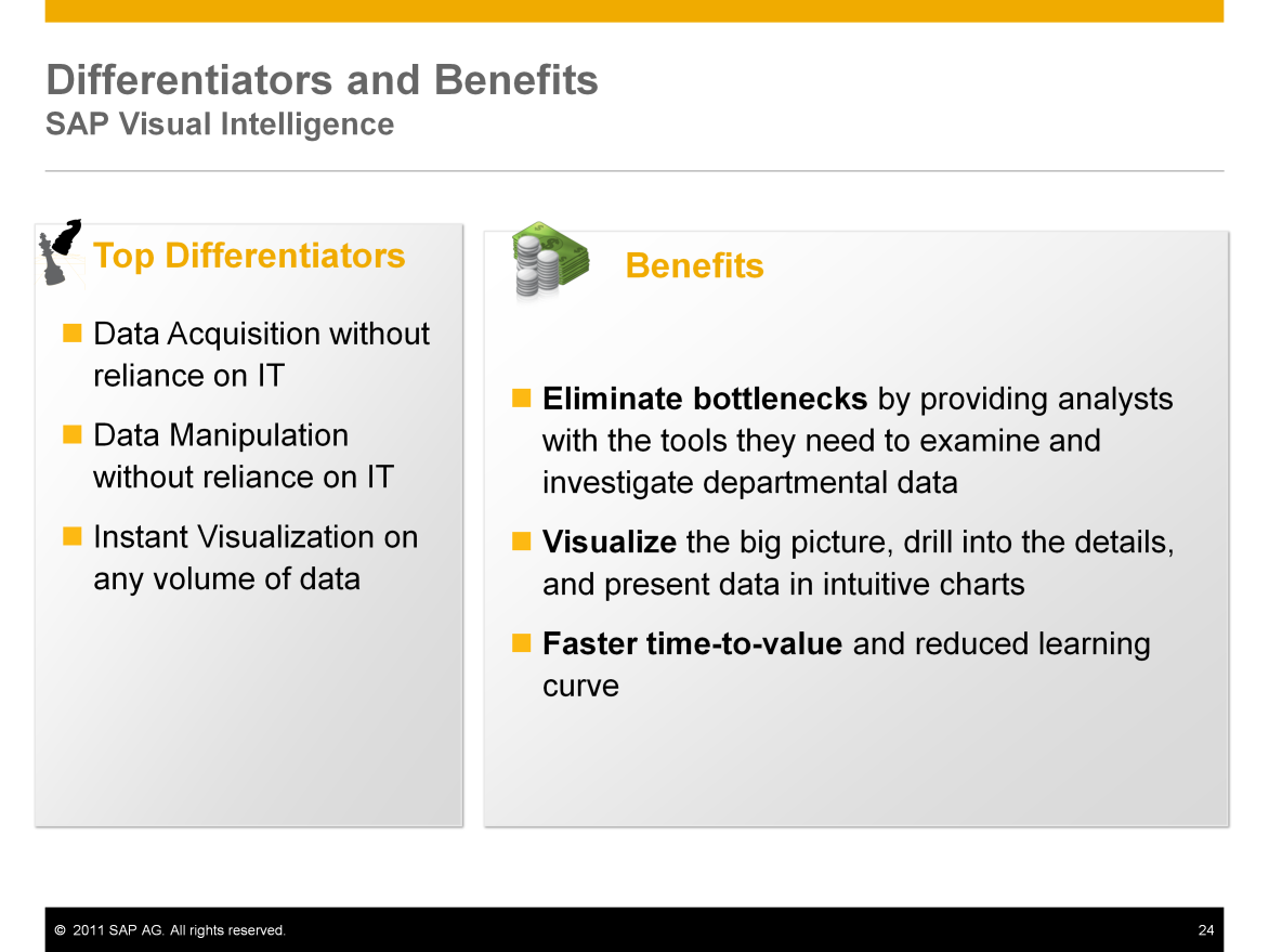 Top differentiators for SAP Visual Intelligence include: Data acquisition without reliance on IT Users can acquire and combine data from enterprise and personal sources in a repeatable, self-service