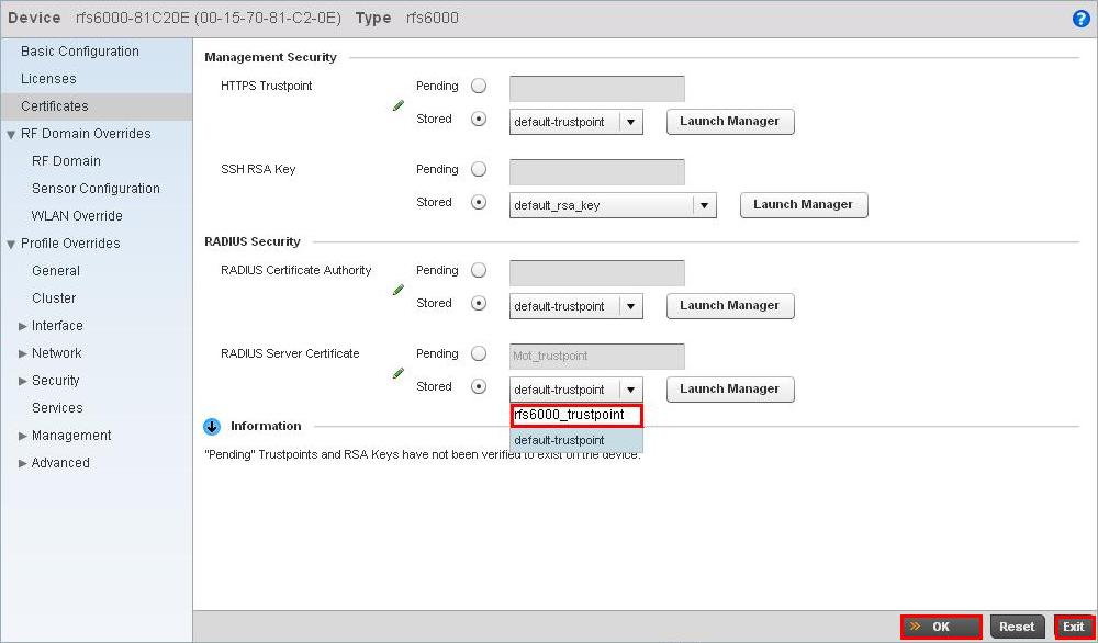 2) Navigate to the Configuration > Devices > RFS6000-C20E > Certificates window.
