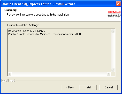 Oracle XE Installation Oracle Client Expression Edition Figure 4-21: Oracle client installation destination location 3.
