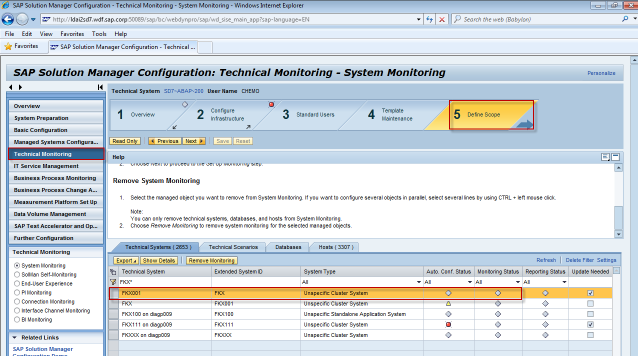 3 SYSTEM MONITORING SETUP 1. Firstly open System Configuration wizard via transaction: SOLMAN_SETUP. And then, select Technical Monitoring to lunch System Monitor setup wizard. 2.