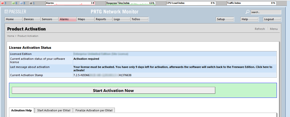 "Installation 21 Activation via Internet In the PRTG Web Interface, choose ""Setup Activation Status"" from the main menu. Click on the button ""Start Activation Now"" to start product activation."