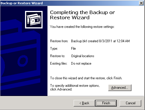 5 Restoring System State Data, NTDS, and SYSVOL The What to Restore dialog box appears. 9 Click Browse, and browse to the system state backup file.