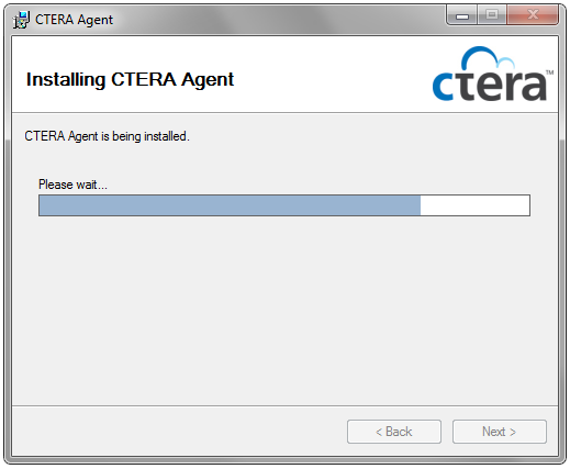 2 Installing the CTERA Agent The Confirm Installation screen appears. 8 Click Next.