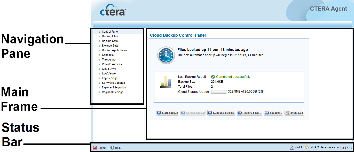 Using the CTERA Agent in Cloud Agent Mode 4 The CTERA Agent Web interface opens in your Web browser, displaying the Control Panel page.