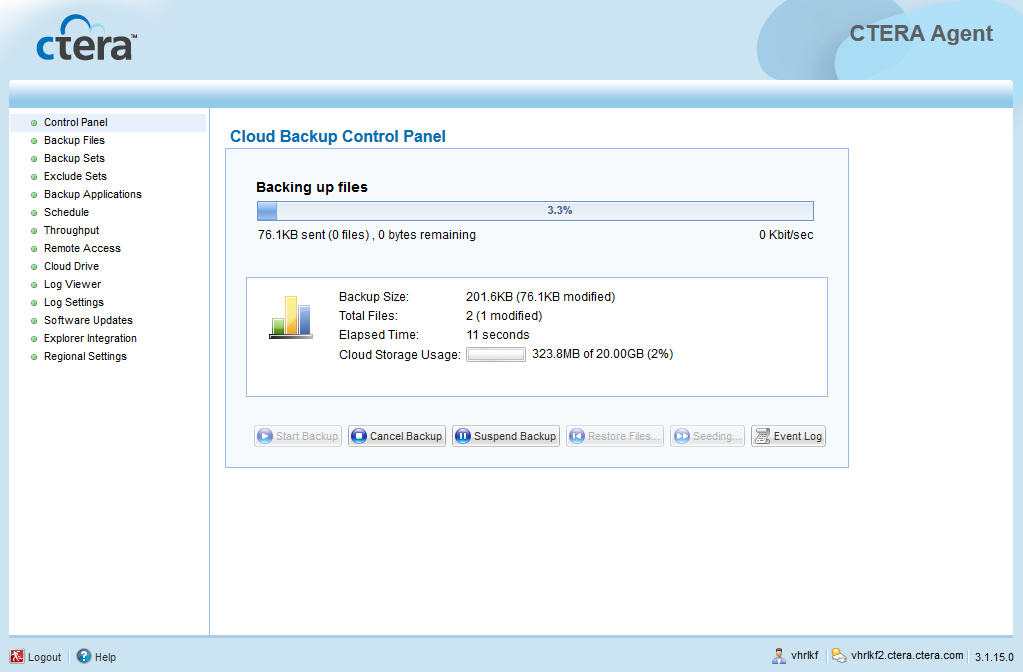 Using the CTERA Agent in Cloud Agent Mode 4 Manually Starting Cloud Backup You can manually start cloud backup at any time.