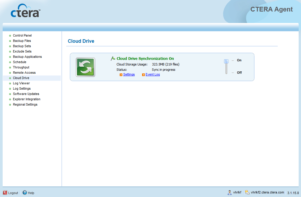 4 Using the CTERA Agent in Cloud Agent Mode The Cloud Drive page appears. 2 Slide the lever to the On position.
