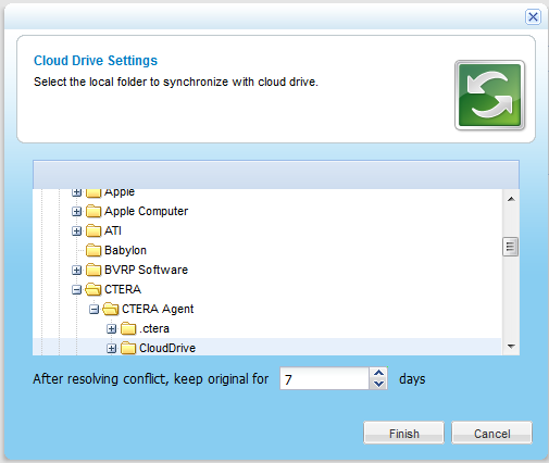 Using the CTERA Agent in Cloud Agent Mode 4 To disable cloud drive synchronization 1 In the navigation pane, click Cloud Drive. The Cloud Drive page appears. 2 Slide the lever to the Off position.