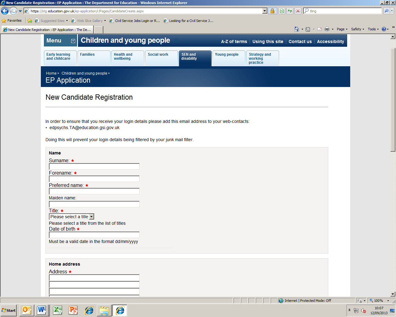 New Candidate Registration You will arrive at this page when you click New Candidate Registration. All fields marked with * are mandatory.