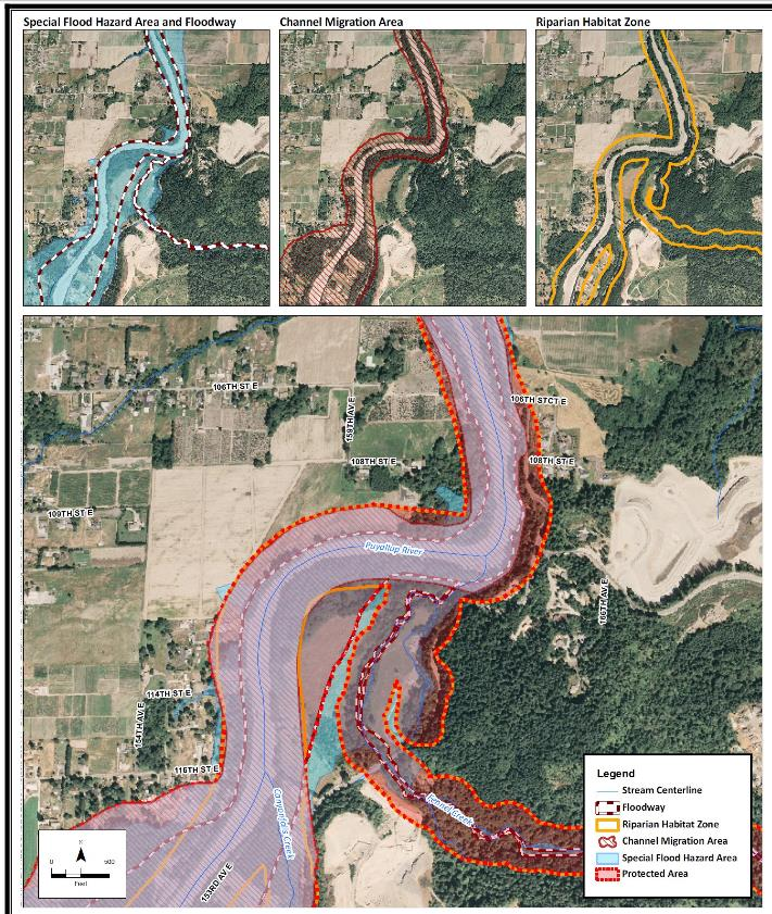 Example from Pierce County, Washington riparian habitat zone, 150 250 salmon