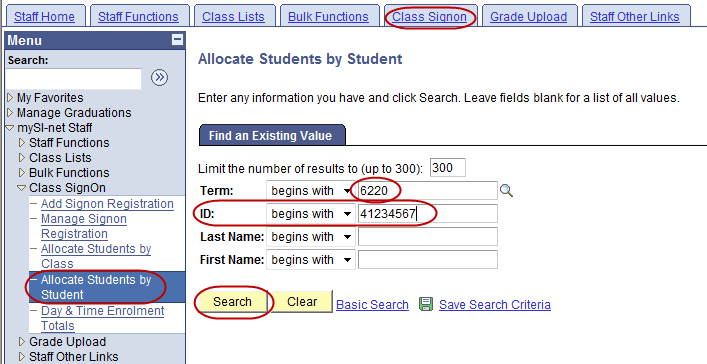 Allocate Students by Student While signon is usually done by the students themselves, it is possible for the course coordinator to allocate an individual student into a particular signon group (e.g., based on a request made by email from the student as a result of a timetable clash).