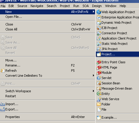 Open NEW Dynamic Web Application Project in Eclipse NEW
