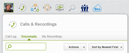 8. Calls & Recordings CLICK => The Calls & Recordings icon on the Control Panel menu to view your call log, voice mails an