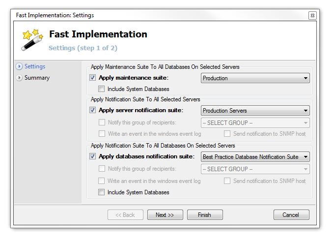 "5) Fast Implementation Suites and Settings Once finished creating ""Maintenance Suites"" and ""Notification Suites"", you can apply them all for multiple servers simultaneously."