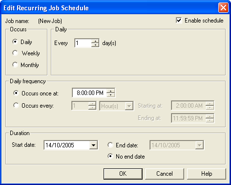 18. From the Edit Recurring Job Schedule screen, select the following: i. Click the Enable Schedule check box. ii. Click the Daily radio button in the Occurs section. iii.