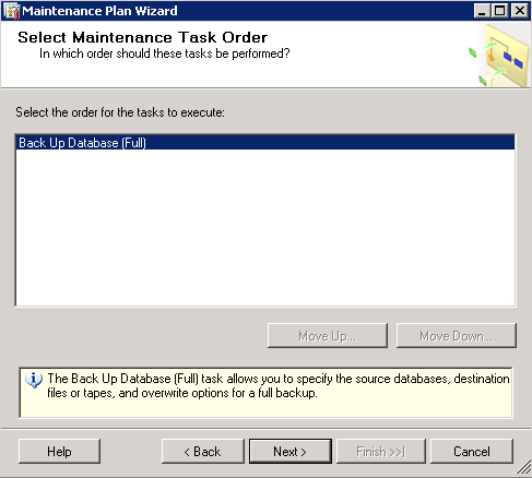8. In this page you will be able to tell SQL Server in which order you wish the tasks to run.
